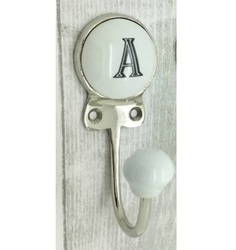 Single Wooden and Ceramic Decorative Hook