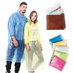 Waterproof Rain Poncho With Drawstring Hood Pocket Raincoat Raincard