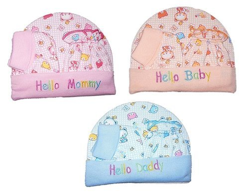 Multicolor Girl Baby Cap Mittens And Booties 3634f48f835