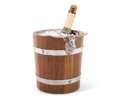 Silver Wooden Stainless Steel Wine Buckets - NJO 4890