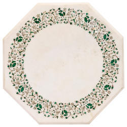 Indian Marble Stone Inlaid Dining Table Top