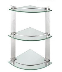 Triangle Bathroom Glass Wall Corner Shelf, Size: 18x6 Inch