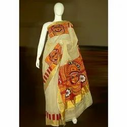 Printed Party Wear Ladies Tant Saree, Length: 6.5 m (With Blouse Piece)