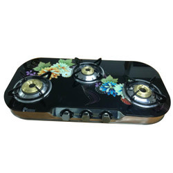 3 Burner Steel Draw Glass Top Gas Stove