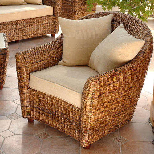 Brown Living Room Cane Chair