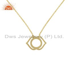 Ajna Chakra Designer Yellow Gold Plated Plain Silver Chain Pendant