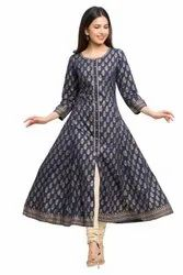 Yash Gallery Women's Cotton Gold Print Anarkali Kurta
