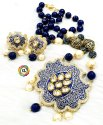 CL Jewellery Handcrafted Meenakari Kundan Pendant and Agate Antique Beads Necklace Set
