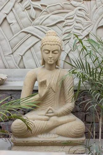 Brown Marble and Stone Buddha Statue, Dimension: 1 feet