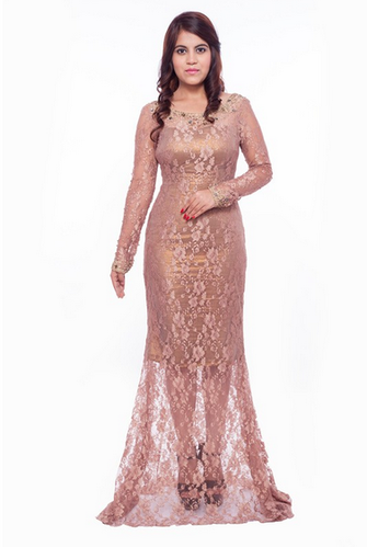Earth Brown Lace Evening Gown