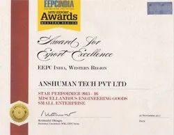 Awarded To Anshuman Tech Pvt. Ltd. for Export Excellence