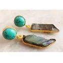 Brass Gemstones Earrings