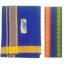 Regular Wear Designer Cotton Dhoti Towel Set, Size: 2 meter