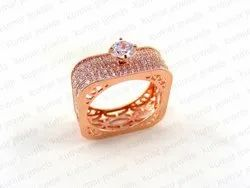 Kumar Jewels Costume Cubic Zircon Rose Gold Plated Ring