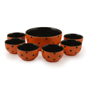Orange Handcrafted Ceramic Dinner Bowl Set