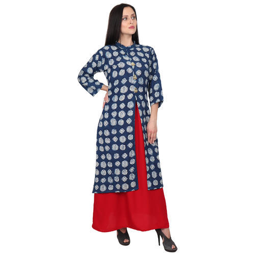 6944ae412 Rayon And Cotton Party Wear And Casual Women Double Maxi Dress