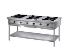 Stainless Steel Three Burner Gas Stove, For Commercial, Number Of Knob: 6 Knob