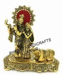 Golden Plated Radha Krishna Cow