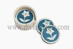 Round Floral Bone Inlay Coasters