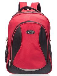 Red 3 Compartment Large School Bag