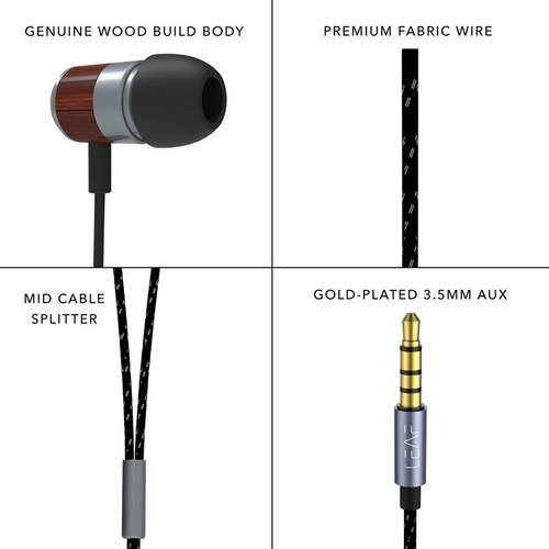 598149298ad Leaf Bolt Wooden Wired Earphones with Mic and in-Line Remote (Classic Wood)