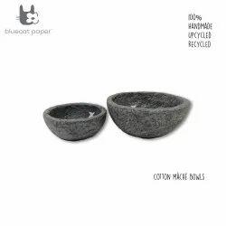 Handmade paper mache grey bowls, white fish decal print