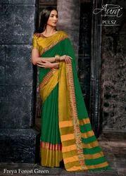 Wedding Wear Pure Cotton Silk Saree, 5.5 m (Separate Blouse Piece)