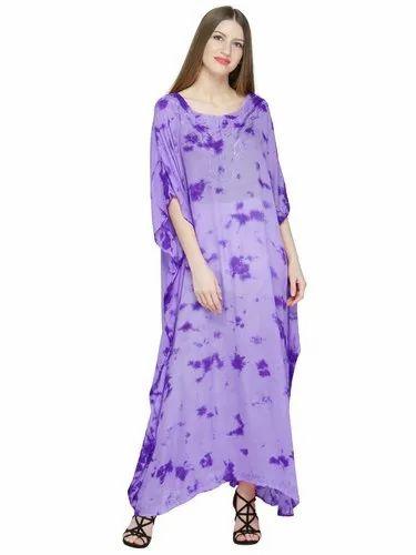 d57ead3b6800e Skavij Womens Caftan Rayon Tie-Dye Soft Beach Cover Up Long Kaftan  Embroidered Rayon Tie