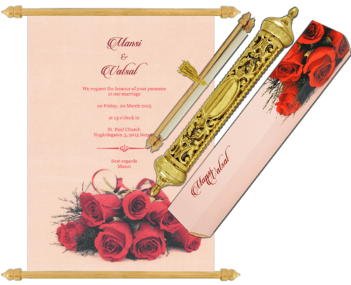 Floral Design Pink Scroll Wedding Invitation Cards Id