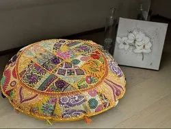 Patchwork Pouf Ottoman Cover Embroidered Floor Cushion