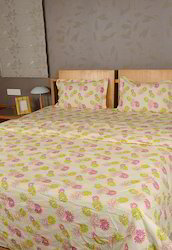 Genera Light Green Cotton Floral Printed Bedding Set, for Hotel & Home