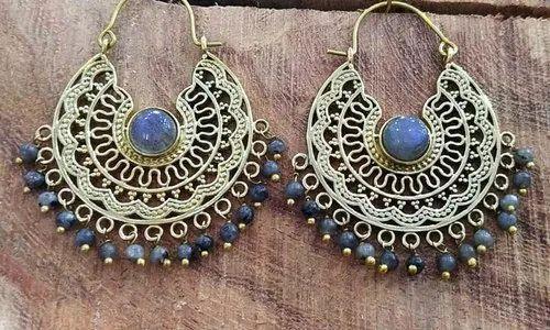 Brass Stone Jhumki Earring