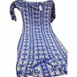 Rayon Casual Wear Ladies Blue And White Printed Kurti, Size: L