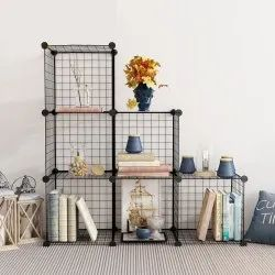 6 Cubes Shelf Wire Modular Storage Organizer for Book, Toy Closet Cabinet