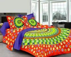 Polka Dot Jaipur Cotton Double Bed Sheet