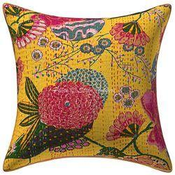 16x16 Designer Kantha Printed Cotton Hippie Cushion Cover