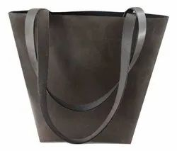 Plain Casual Wear Genuine Leather Tote Bag