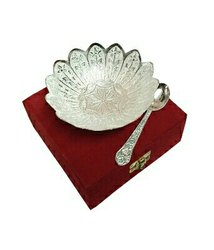 Silver Plated Brass Bowl Lotus Flower Shaped 5 Diameter