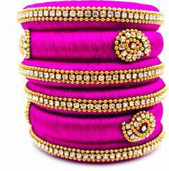 pink Handmade  Silk Thread Bangle Set
