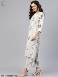 Nayo Grey Printed 3/4Th Sleeve Kurta With Palazzo