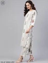 Nayo Grey Printed 3/4Th Sleeve Kurta With Palazzo
