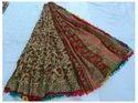 Cream And Red Printed Saree
