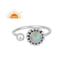 Fire Opal Gemstone Oxidized Sterling Silver Flower Ring