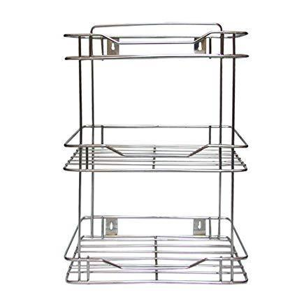 Ps Wall Mounted Three Shelf Stainless Steel Kitchen Rack Silver