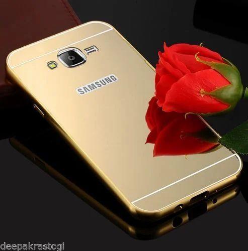 Gold Luxury Aluminium Bumper Mirror Acrylic For Samsung Galaxy J5