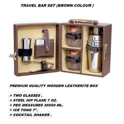 Portable Brown Two Glasses Bar Set