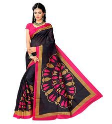 Ladies Casual Printed Bhagalpuri Silk Saree