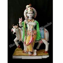 Marble Krishna With Cow Moorti