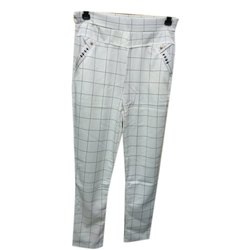 Lycra Cotton Straight Fit Ladies Checked Legging