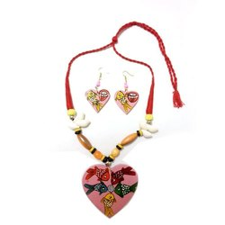 Ethnic Hand Painted Wood Necklace Set